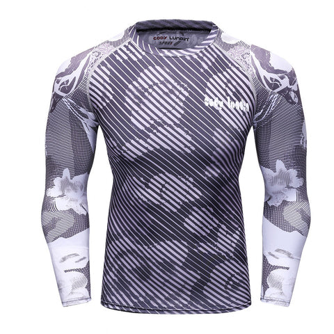 2017 Compression Shirt Men's Base Tshirts Tight-Fitting Second Skin Technical Printing Long Sleeve Bodybuilding Tops Fitness tee
