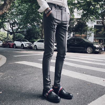2017 new Korean version of the simple simple color feet Slim pants