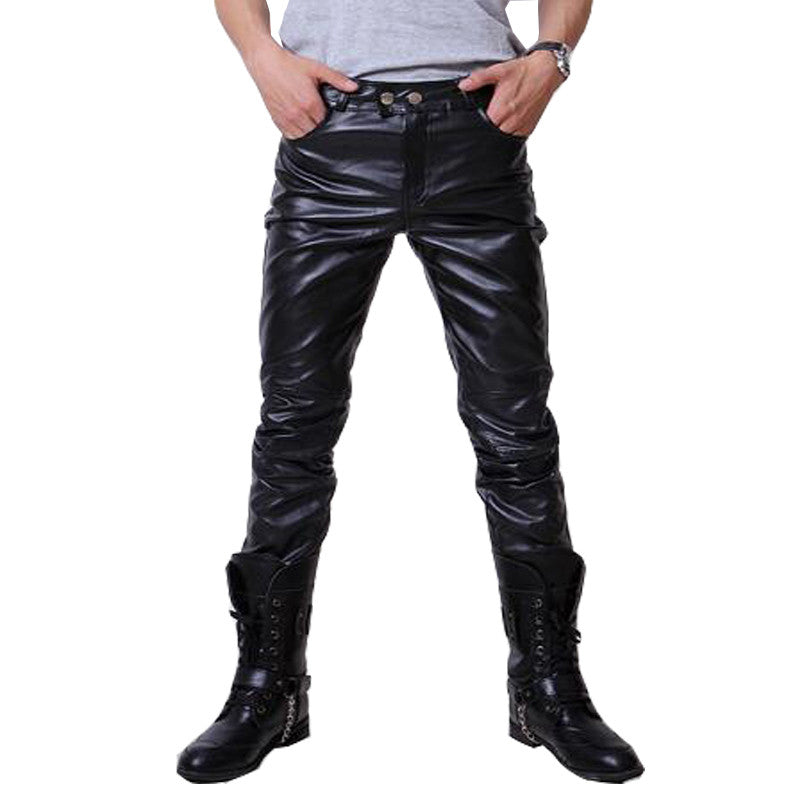 2016 Mens Faux Leather Pu Material Pants 3 Colors Motorcycle Faux