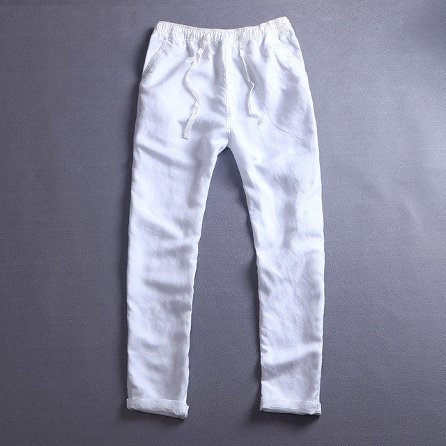 2017 Men's Summer Casual Pants Natural Cotton Linen Trousers White