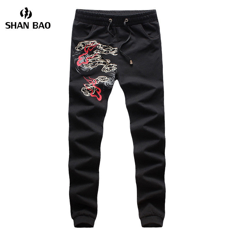 2017 New Fashion Men Cotton Pants Chinese Style Dragon Embroidery