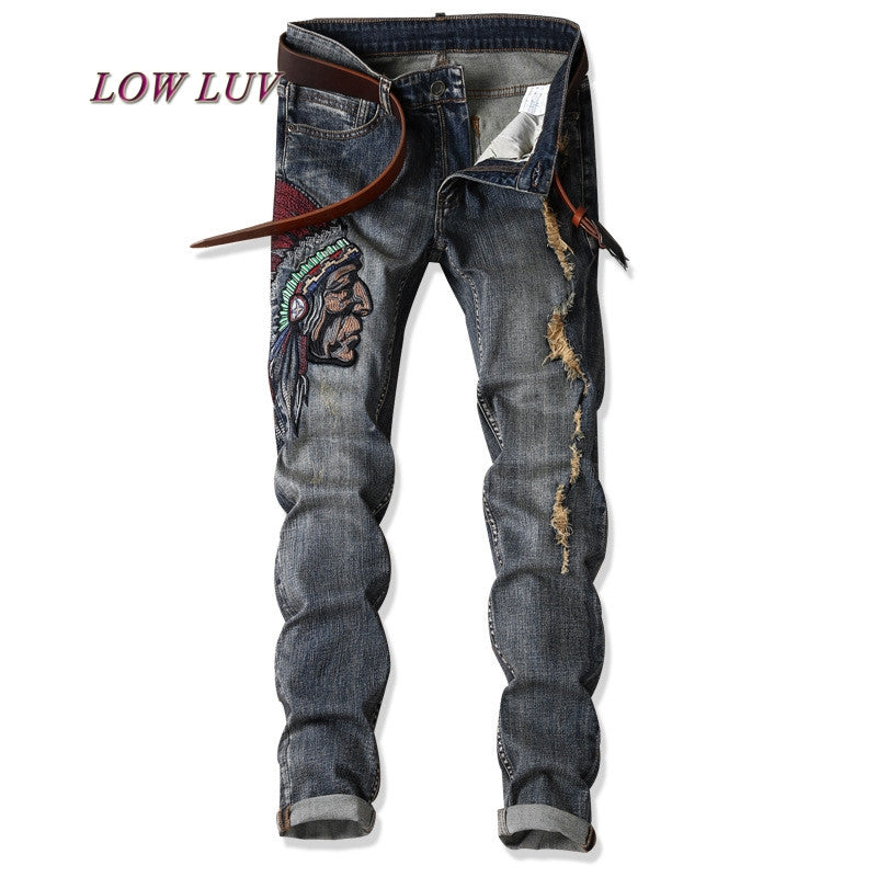 2017 New Autumn Fashion Hole Jeans Men Long Trousers skinny ripped
