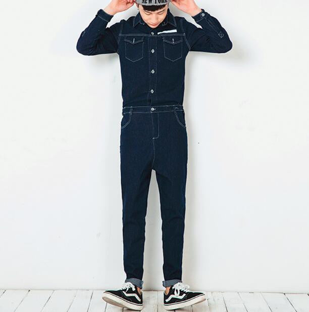 2017 FASHION Jeans bodysuit male personality cartoon print autumn