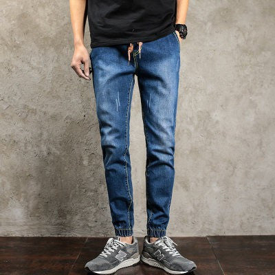 2017 Autumn New Skinny Jeans Men Drawstring White stretch fashion slim