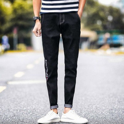 2017 Autumn New Black Embroidered Jeans Men Skinny Ankle-Length