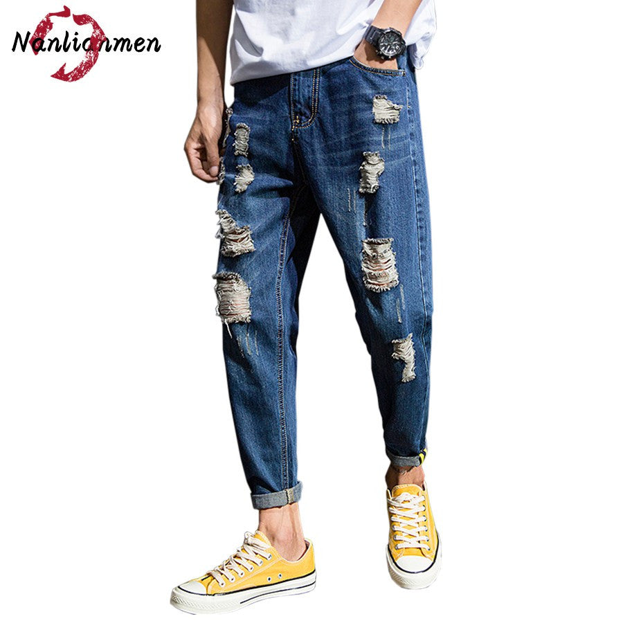2017 Autumn Blue Ripped Jeans Men Ankle-Length baggy white stretch