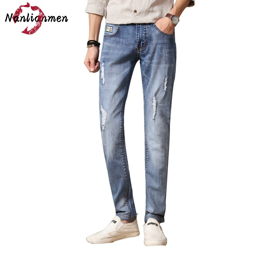 2017 Autumn New Ripped Jeans Men Skinny Straight White Destroyed Denim