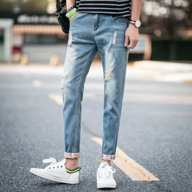 2017 Autumn New Ripped Jeans Men Skinny Ankle-Length White Stretch