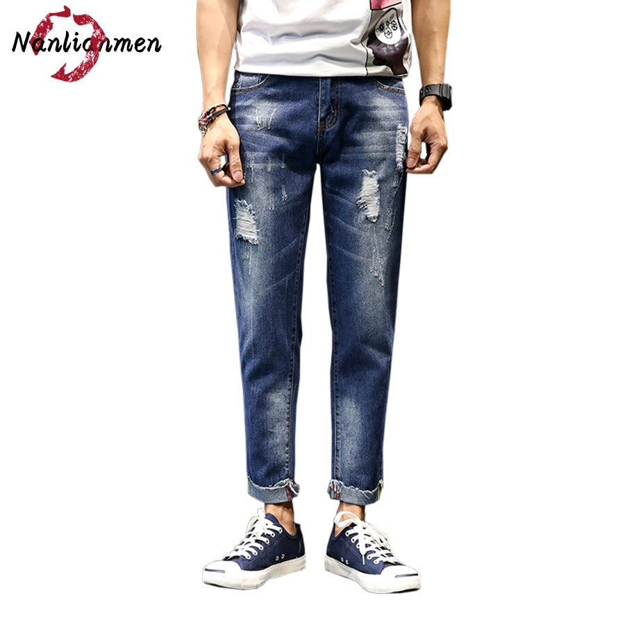 2017 Autumn New Ripped Jeans Men Skinny Ankle-Length Stretch White