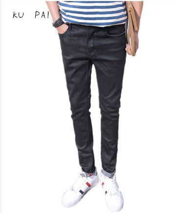 2017 new men's black jeans male Korean version of the thin Japanese