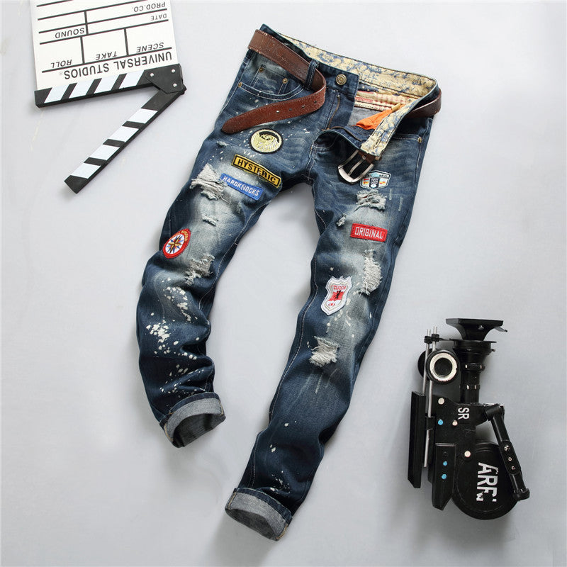 2017 Mens Jeans Men's Trousers Embroidery Biker Jean Casual Clothing