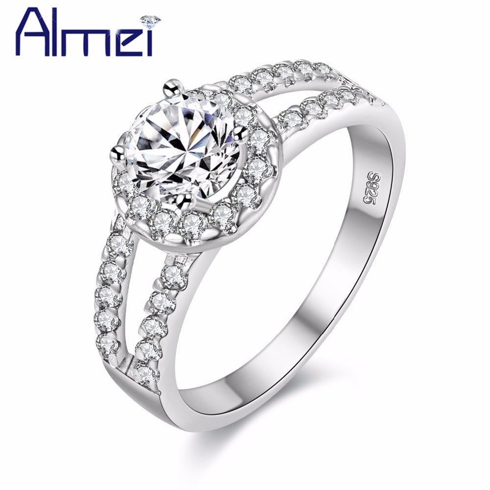 Almei Fashion Cubic Zirconia Stone Silver Color Rings Women Engagement