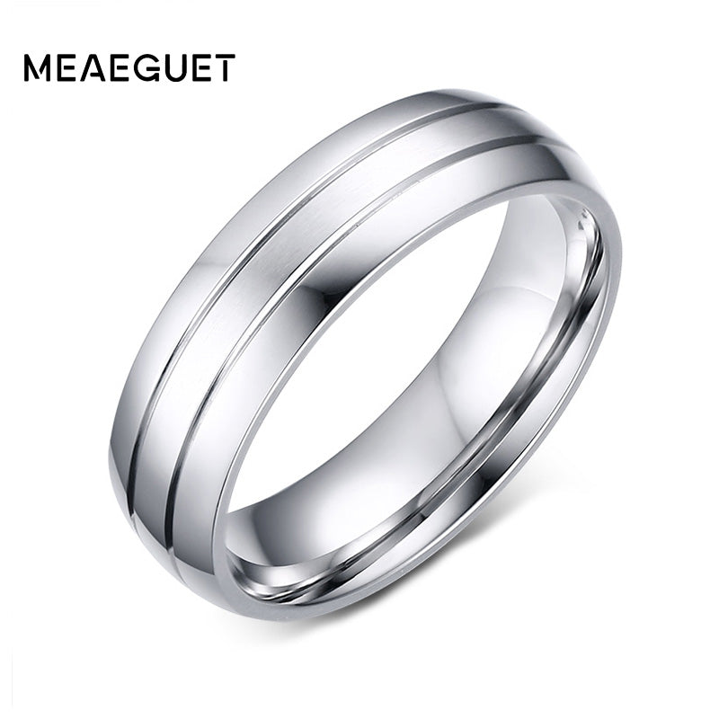 Meaeguet 6mm Wide Classic 2-Row Stainless Steel Rings Simple Design