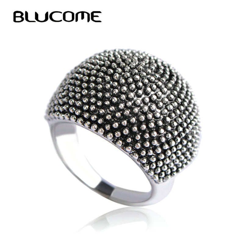 Blucome Vintage Big Round Rings For Women Lady Party Wedding Bands