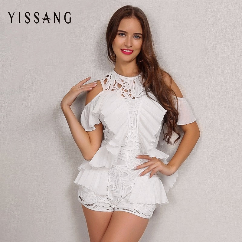 Yissang 2017 Autumn New So Beautiful White Lace Club Party Playsuit