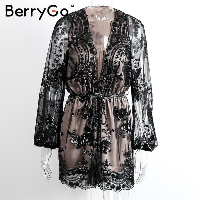 BerryGo Deep v sequin playsuit women Tassel short mesh bodysuit summer
