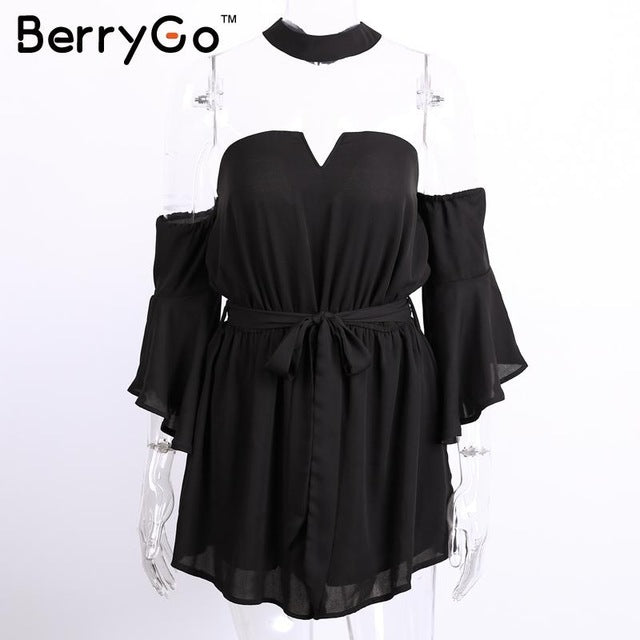 BerryGo Sexy bustier chiffon jumpsuit romper summer v neck pleated