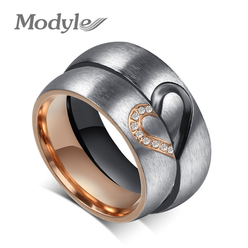 Modyle 2017 New Fashion Love Heart Couple Rings for Women Men