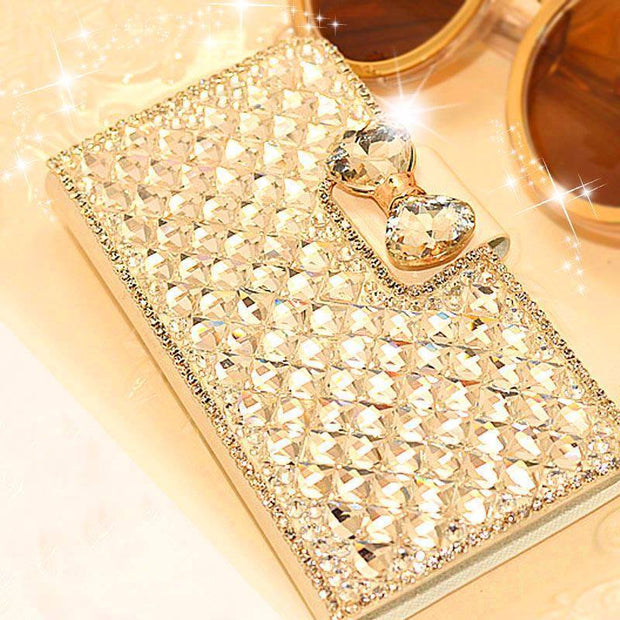 Luxury Bling Bowknot Crystal Rhinestone Diamond Wallet Flip Case Cover