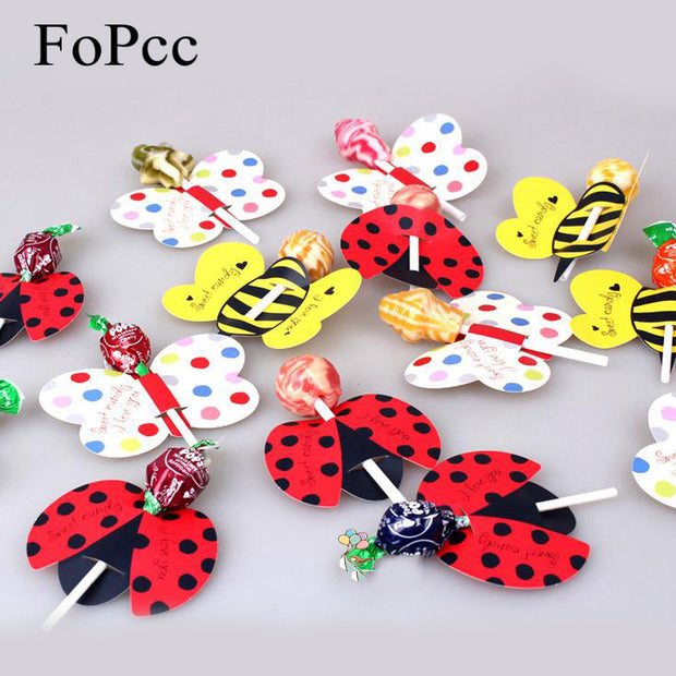 50PCS/Set Cute Insect Bees Ladybug Butterfly Lollipop Decoration Card