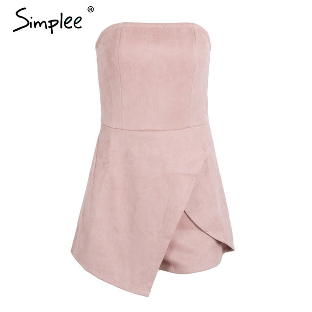 Simplee Strapless leather suede jumpsuit romper Women slim pink winter