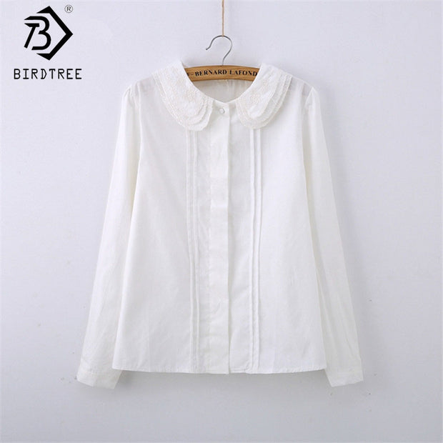 Fashion Female Cotton White Blouses Peter Pan Collar Casual Shirt