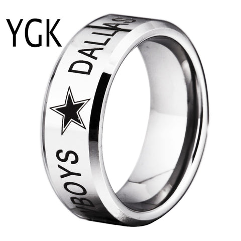 YGK Brand  8MM High Polished Silver Bevel Dallas Cowboys Design Tungsten Comfort Fit Ring for man and woman's wedding