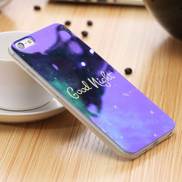 For iPhone 7 8 Plus Phone Case Blue Ray Glitter Soft TPU Back Cover