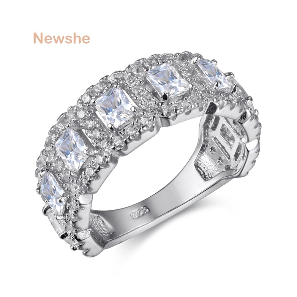 Newshe Solid 925 Sterling Silver Wedding Ring Engagement Band AAA CZ
