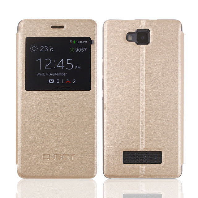 For Cubot ECHO PU Leather Case With View Window Original Flip Shell