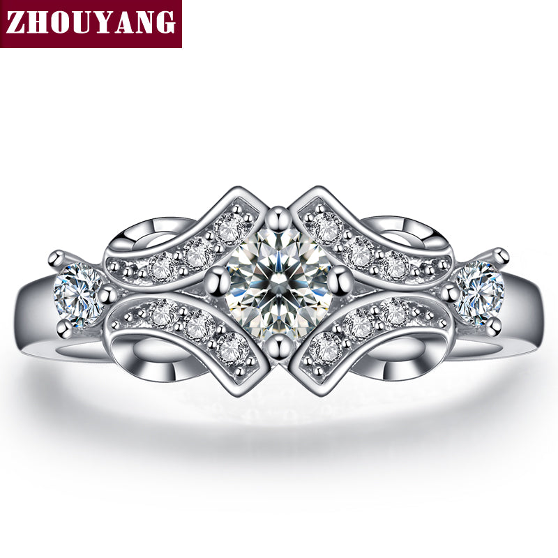 Silver Color Luxury Bijoux Fashion Wedding & Engagement Ring Made With