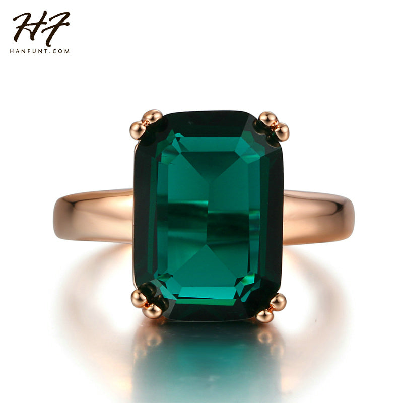 New Rose Gold Color Ring Fashion Red/Green Big Square Crystal