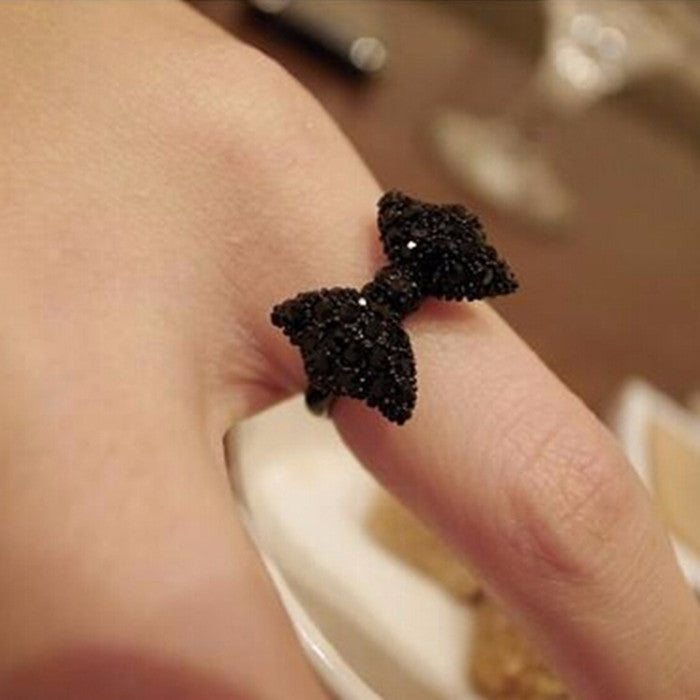 G067 Hot New 2017 Fashion Cheap  Black Butterfly Bow Finger Ring For