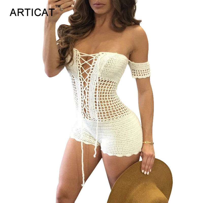 Articat Lace Up Crochet Knitted Playsuit Women Rompers Sexy Off