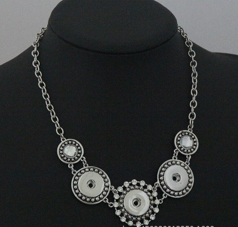 2pcs/lot New Vintage Jewelry Metal Chain Snap Necklace 50CM Rhinestone