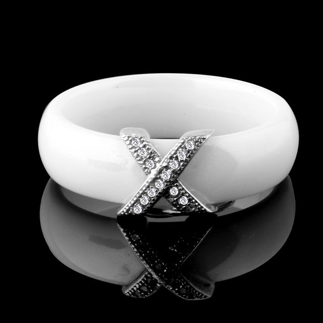 Fashion Jewelry Women Ring With AAA Crystal 6 mm X Cross Ceramic Rings