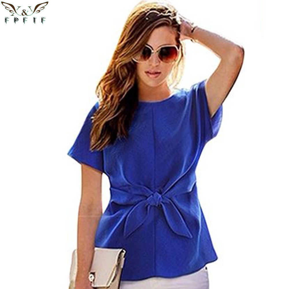 2016 fashion women kimono Bowknot blouses O-neck short sleeve shirts