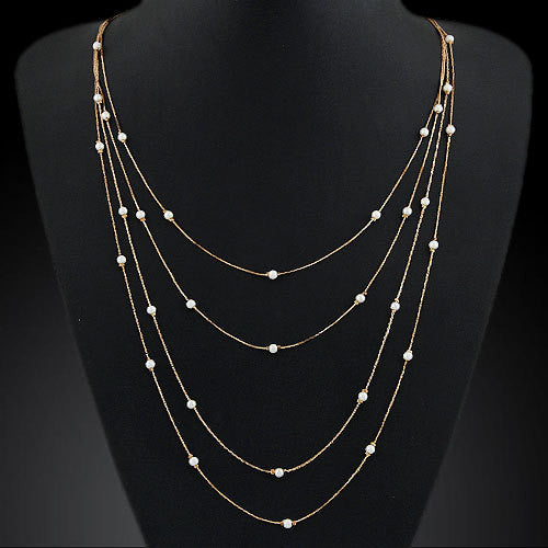 New Hammered Bar Simple Double Chain Charm Simulated Pearl Necklace