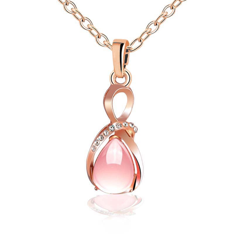 Female charm Water drop pink/purple necklaces pendants jewellery