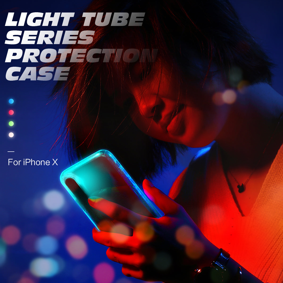 For Iphone X Caseled Flash Light Calling Notice Alert Phone Rock Tube Bumper Original Case 6 6s Features Led Protection Cover Function Anti Knock Compatible Brand Apple Iphones Type Fitted Name