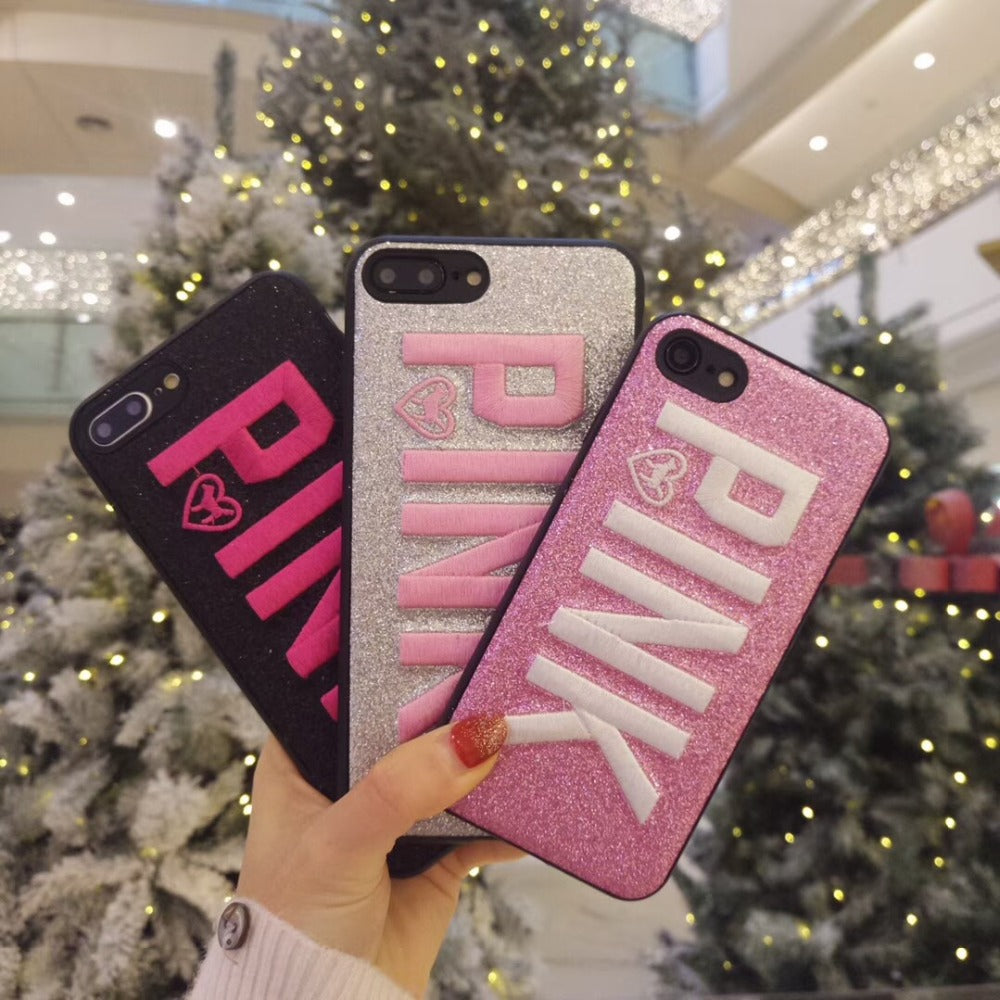 huge discount 3eb0f 9b6a8 Hot embroidery PINK glitter Soft silicon cover cases for iphone 6 S 6S plus  7 7plus 8 8plus X Shiny Pet dog Blinking phone cases