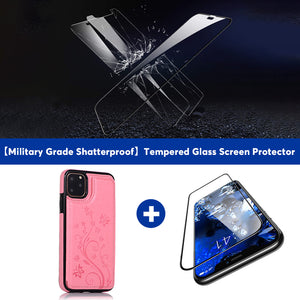 2020 Luxury Leather Wallet Case For iPhone-With Free Tempered Glass