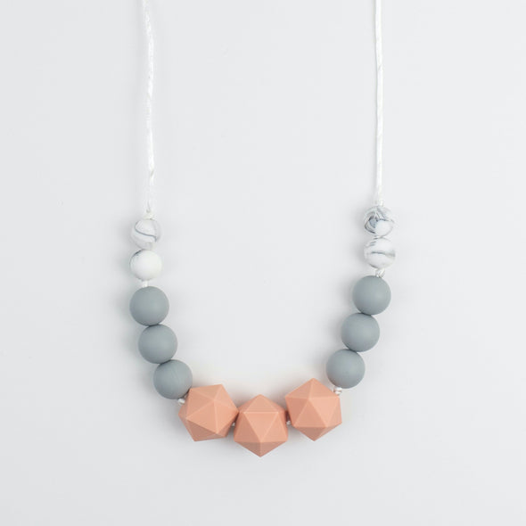 Peach, Grey and Marble Nursing Necklace for Mum and Baby