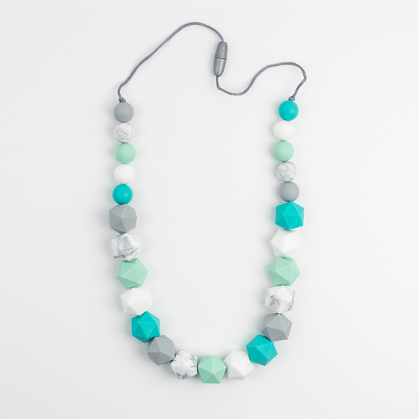 Chunky Statement Teething Necklace In Blues and Greys
