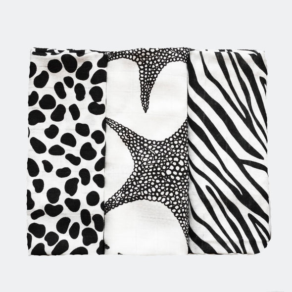 Etta Loves 3 Pack Animal Sensory Muslins
