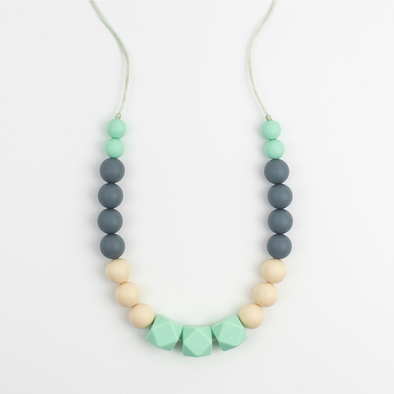 Edith Teething Necklace - Mint green, grey, cream. - Sebandroo