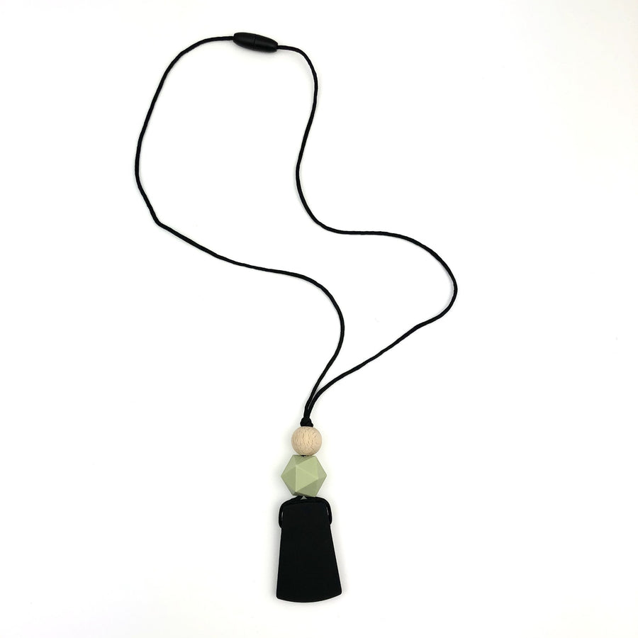 Black, Sage Green and Wooden Pendant Teething Necklace - Sebandroo
