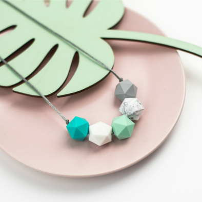 Kristin Teething Necklace in mint, turquoise and grey - Sebandroo