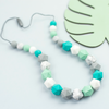 Beaded Nursing Necklace in Turquoise, Mint, White and Grey