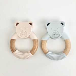Beech and Silicone Bear Teether in Blush Pink or Grey - Sebandroo